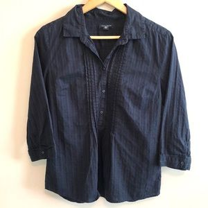 Tommy Hilfiger Navy 3/4 Sleeve Popover Blouse